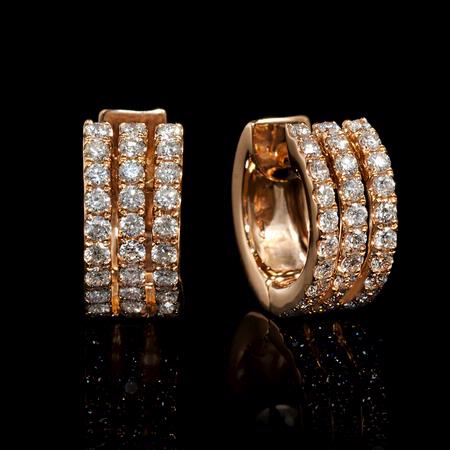 Diamond 18k Rose Gold Huggie Earrings
