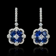 1.00ct Diamond and Blue Sapphire 18k White Gold Dangle Earrings
