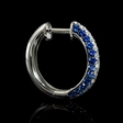 .56ct Diamond and Blue Sapphire 18k White Gold Huggie Earrings