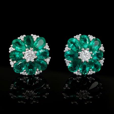 Diamond and Emerald 18k White Gold Cluster Earrings