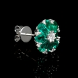 .36ct Diamond and Emerald 18k White Gold Cluster Earrings