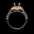 .93ct Diamond 18k Two Tone Gold Halo Engagement Ring Setting