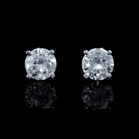 .87ct Diamond 14k White Gold Stud Earrings