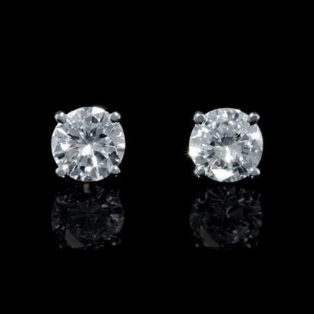 Diamond 1.45 Carats 14k White Gold Stud Earrings