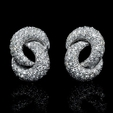 .43ct Garavelli Diamond 18k White Gold Cluster Earrings