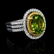 .66ct Diamond and Peridot 22k Yellow Gold and 18k White Gold Ring