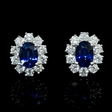 1.26ct Diamond and Blue Sapphire 18k White Gold Cluster Earrings