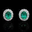 .20ct Diamond and Emerald 18k White Gold Cluster Earrings