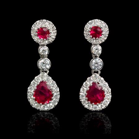 .48ct Diamond and Ruby 18k White Gold Dangle Earrings