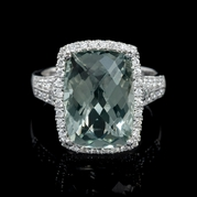 Diamond and Green Amethyst 18k White Gold Ring
