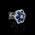 .54ct Diamond and Blue Sapphire 18k White Gold Cluster Earrings