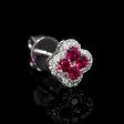 .17ct Diamond and Ruby 18k White Gold Cluster Earrings
