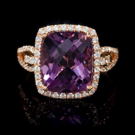 Diamond and Purple Amethyst 18k Rose Gold Ring