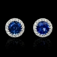 .26ct Diamond and Blue Sapphire 18k White Gold Cluster Earrings