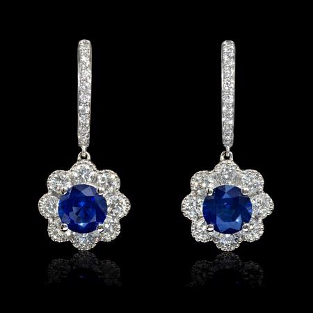 1.23ct Diamond and Blue Sapphire 18k White Gold Dangle Earrings