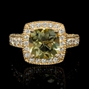 Diamond and Lemon Quartz 14k Yellow Gold Ring