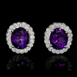 1.37ct Diamond and Purple Amethyst 14k White Gold Cluster Earrings