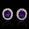 Diamond Purple Amethyst 14k White Gold Cluster Earrings