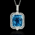 .59ct Diamond and Blue Topaz 18k White Gold Pendant