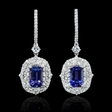 2.67cts Diamond and Tanzanite 18k White Gold Dangle Earrings