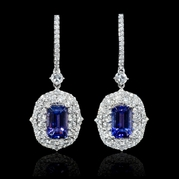 Diamond and Tanzanite 18k White Gold Dangle Earrings