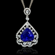 Diamond and Tanzanite 18k White Gold Pendant