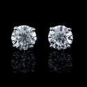 Diamond 2.65 Carats 18k White Gold Stud Earrings