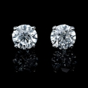 Diamond 3.73 Carats 14k White Gold Stud Earrings