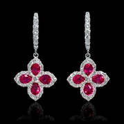 Diamond and Ruby 18k White Gold Dangle Earrings
