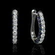.86ct Diamond and Blue Sapphire 18k White Gold Huggie Earrings