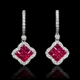 .64ct Diamond and Ruby 18k White Gold Dangle Earrings