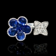.44ct Diamond and Blue Sapphire 18k White Gold Ring