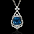 .57ct Diamond and Blue Topaz 18k White Gold Pendant