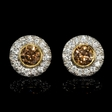 3.25ct Diamond 18k Two Tone Gold Cluster Earrings