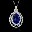 .73ct Diamond and Tanzanite 18k White Gold Pendant