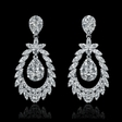 3.08cts Diamond 18k White Gold Dangle Earrings