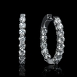 2.84cts Diamond 18k White Gold Huggie Earrings