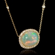 .50ct Diamond and Opal 18k Yellow Gold Pendant Necklace