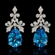 .64ct Diamond Blue Topaz 18k White Gold Dangle Earrings
