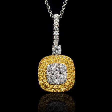 1.03cts Diamond 14k White and Rose Gold Pendant Necklace.