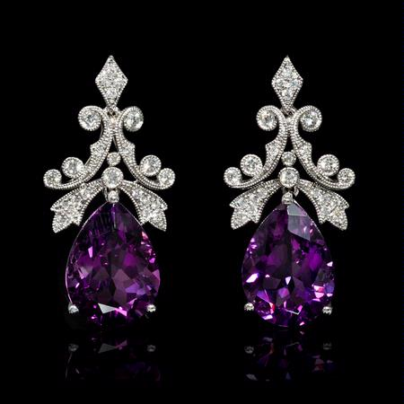 .64ct Diamond and Purple Amethyst 18k White Gold Dangle Earrings