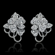 3.56cts Diamond 18k White Gold Cluster Earrings
