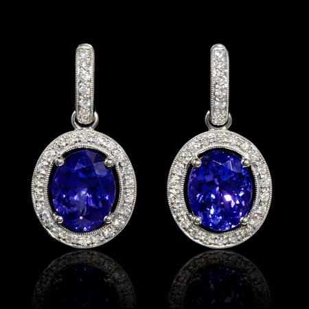 Diamond and Tanzanite 14k White Gold Dangle Earrings