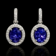 .70ct Diamond and Tanzanite 14k White Gold Dangle Earrings