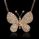 Diamond 18k Rose Gold Butterfly Pendant Necklace