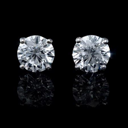 Diamond 4.11 Carats 14k White Gold Stud Earrings
