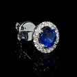 .33ct Diamond and Blue Sapphire 18k White Gold Cluster Earrings