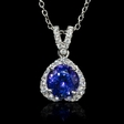 .38ct Diamond and Tanzanite 14k White Gold Pendant