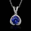Diamond and Tanzanite 14k White Gold Pendant
