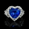 1.30cts Diamond and Blue Heart Sapphire 18k White Gold Ring